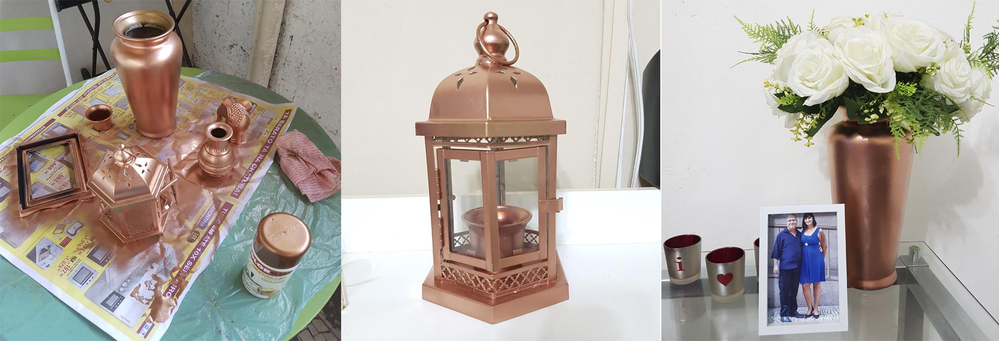 DIY – Como ter vários objetos rose gold na decoração gastando pouco